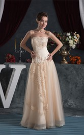 Strapless A-Line Floor-Length Dress with Appliques and Tulle Overlay