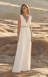Chiffon Plunging Sleeveless Wedding Dress With Open Back And Lace Details