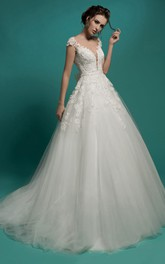 A-Line Long V-Neck Short-Sleeve Illusion Tulle Dress With Appliques And Bow