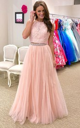 Fashion Two Pieces Halter Lace Long Evening Prom Dress