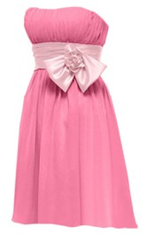 Strapless Short Dress With Ruched Band and Bow