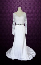 Scalloped Sheath Satin Wedding Dress With Sash And Illusion Sleeve