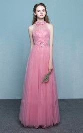 Elegant Tulle Sheath Halter Sleeveless Keyhole Long Dress