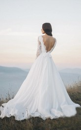 Chiffon Long Sleeve Illusion Wedding Dress With Deep V-back And Court Train