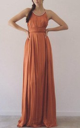 Scoop Sleeveless Chiffon Long Dress With Straps