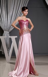 Satin Front-Split Sequined Dress With Spaghetti Straps