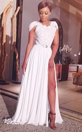 Sexy V-neck Cap Sleeve Chiffon Prom Dress With Front Split Appliques