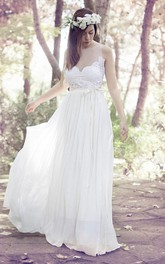 Spaghetti Sleeveless Illusion Chiffon Pleated Wedding Dress With Appliques