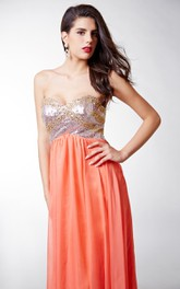 Glamorous Strapless Scalloped Bodice Chiffon Dress With Gems Detail