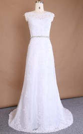 Bateau Sleeveless Lace Floor-Length Dress With Appliques And Waist Jewellery