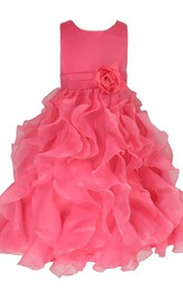 Sleeveless A-line Ruffled Dress With Flower and Bow