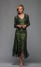 Casual Sheath Chiffon V-neck Tea-length Mother of The Bride Dress with bolero