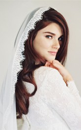 New Eyelash Lace Applique Long Straight Trailer Bridal Veil