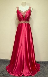 A-line Straps Long Taffeta Sequins Dress