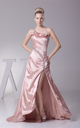 Single-Strap Front-Split Floor-Length Dress with Ruching and Beading