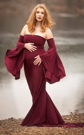 Detachable Bell Long Strapless Court Train Jersey Maternity Dress