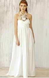 Long A-Line Taffeta Wedding Dress With Open Shoulders