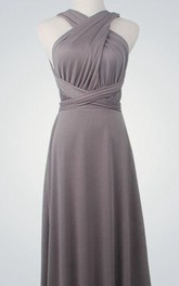 Overlap Backless Long Convertible Bridesmaid Dress