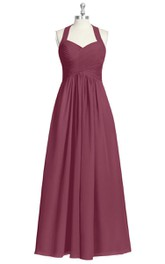 Sleeveless A-Line Long Chiffon Dress With Halter and Crisscross Ruching