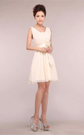Feminine Chiffon Short Dress With Satin Bow