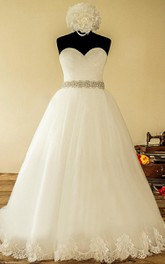 Ball Gown Strapped Sweetheart Tulle Lace Satin Dress With Lace-Up Back