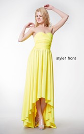 Changeable Ruched Sleeveless A-line Jersey Gown With Ruffles