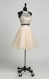 A-Line Halter Tulle Romantic Short Mini Sleeveless Keyhole Dress with Beading Sequins