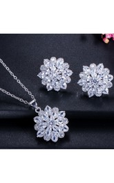 Elegant Bridal Snow Shaped Rhinestone Necklace and Earrings Jewelry Set