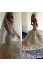 Fairy Open Back Lace Mermaid Wedding Dress With Ruffles