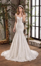 Luxury Lace Notched Floor Length Open Back Bridal Gown