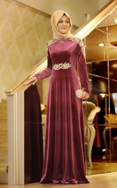 Elegant Appliques A-line Long Sleeve Evening Dress 2018 Floor-length