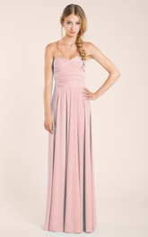 Sweetheart Sleeveless Floor-Length Dress With Criss Cross
