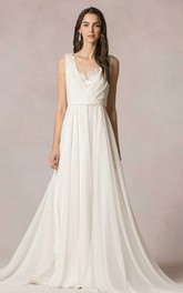 Floor-Length Sleeveless V-Neck Chiffon Wedding Dress