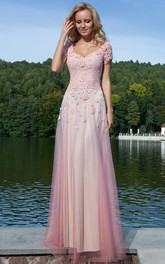 Sheath Long Appliqued V-Neck Short-Sleeve Tulle Prom Dress