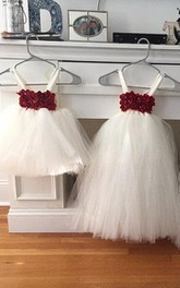 strapped Ivory Red Chiffon Flowers Tutu Baby Dress