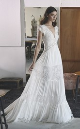 Empire Boho V-neck A-line Chiffon Wedding Gown With Petal Sleeve And Lace Tires