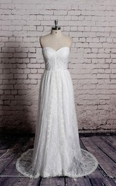 Beautiful Dress Long Lace Bridal Gown With Crisscross Ruching