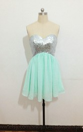 Mini Chiffon Dress With Sequins