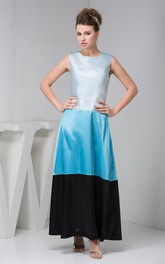 Mute-Color Satin A-Line Gown with Zipper Back