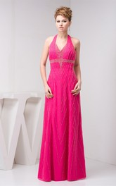 Sleeveless Floor-Length Dress with Halter and Stress