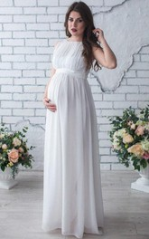 Sleeveless Sleeve Chiffon Maternity Wedding Dress With Pleats
