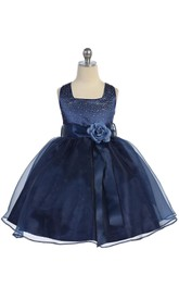 Sleeveless Square Neck Pleated Organza Ball Gown With Floral Belt and Beading