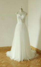 Notched Neck Low-V Back Tulle Wedding Dress With Beading And Pleats
