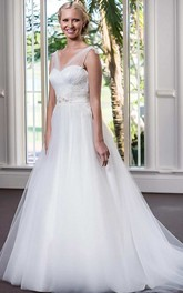A-Line Tulle Satin Beaded Lace Wedding Dress