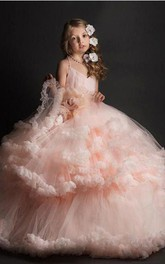 Romantic Ball Gown Tulle Spaghetti Sleeveless Tier Flower Dirl Dress