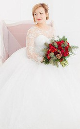 3 4 Sleeve Tulle Lace Dress With Beading June Bridals