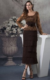 Classic Square-Neck Long-Sleeve Ankle-Length Dress with Tiers and Appliques