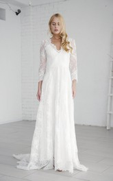 Lace A-line Elegant Long Sleeve Wedding Dress With V-neck And Deep V-back