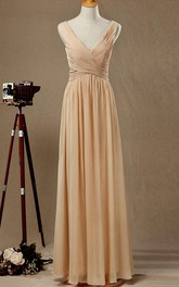 Floor-length V-neck Chiffon&Satin Dress With Low-V Back