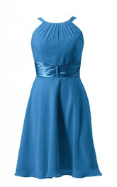 Sleeveless Ruched Sash Knee-length Layered Chiffon Dress